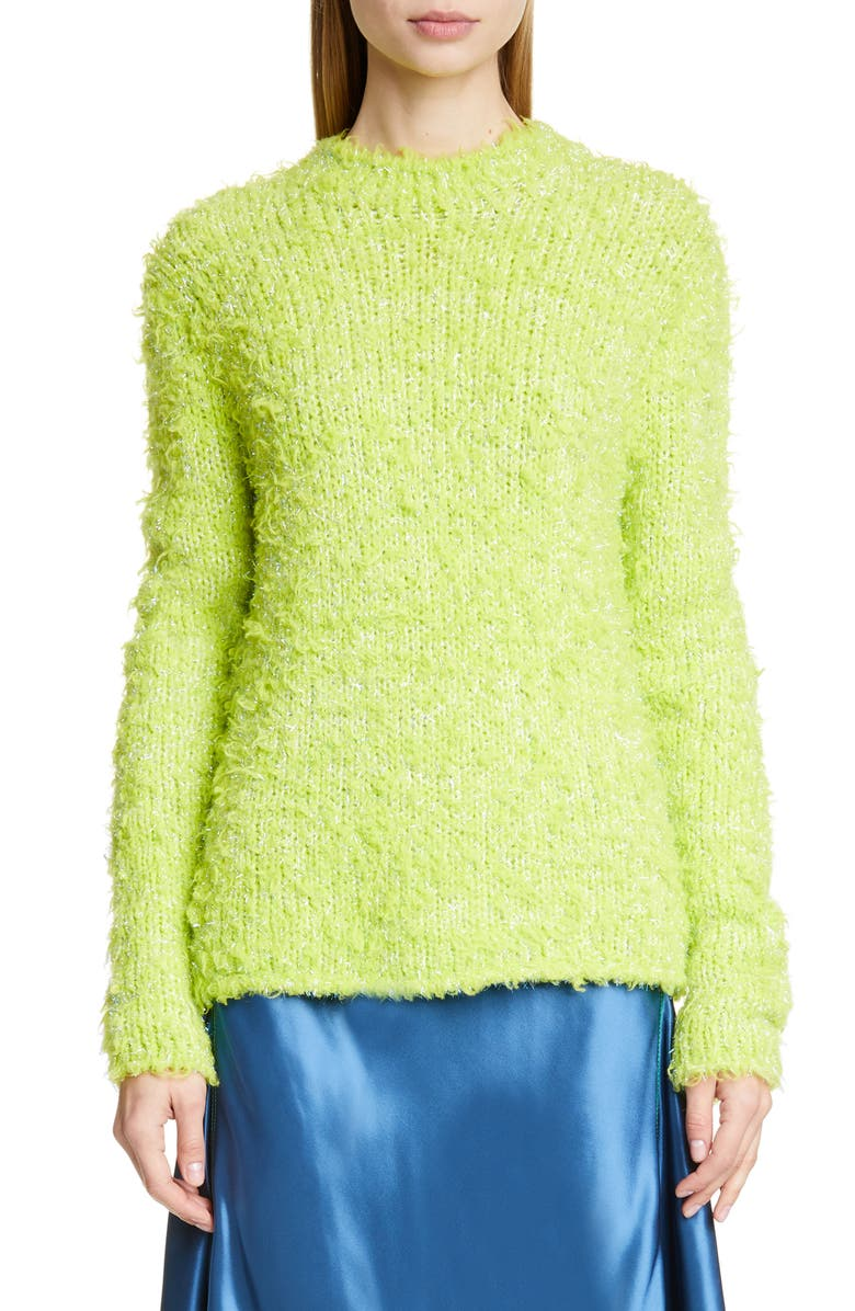 SIES MARJAN Leta Metallic Wool Blend Sweater, Main, color, APPLE LIME APPLE/ IRIS