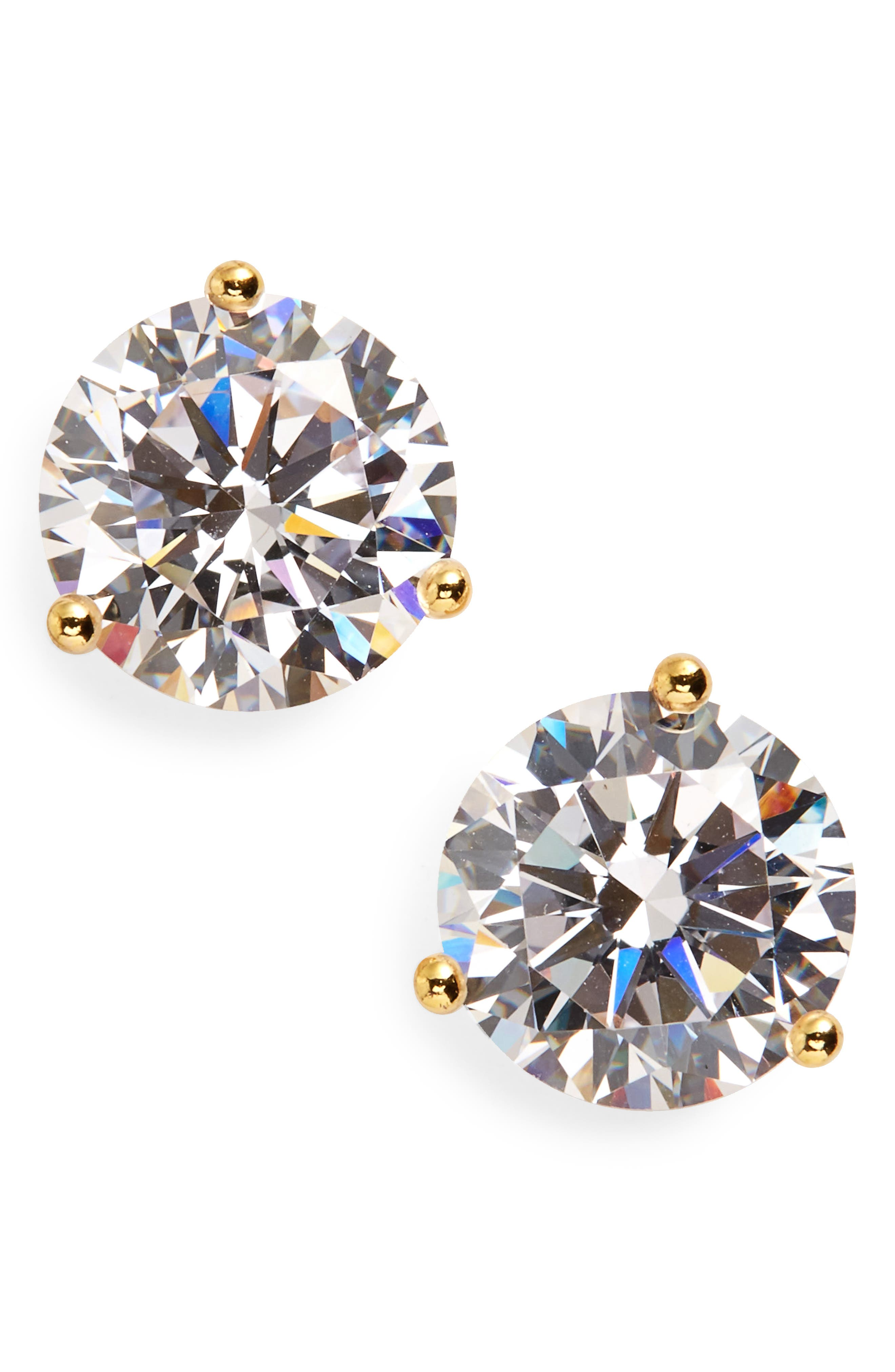 Classically chic, handcrafted studs feature sparkling, faceted cubic zirconia secured by triple-pronged settings. Style Name: Nordstrom 4Ct Tw Cubic Zirconia Earrings. Style Number: 233808. Available in stores.