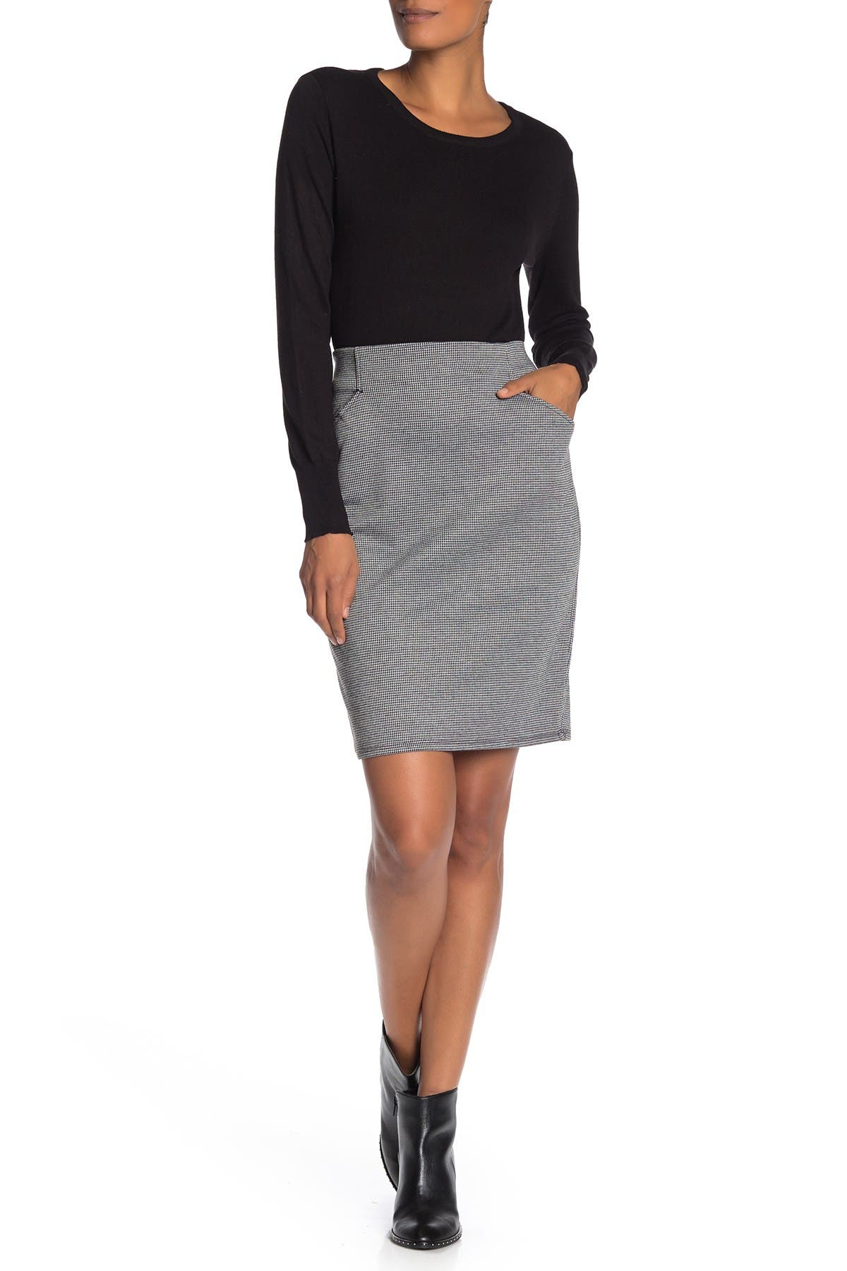 Image of Max Studio Houndstooth Knit Pencil Skirt