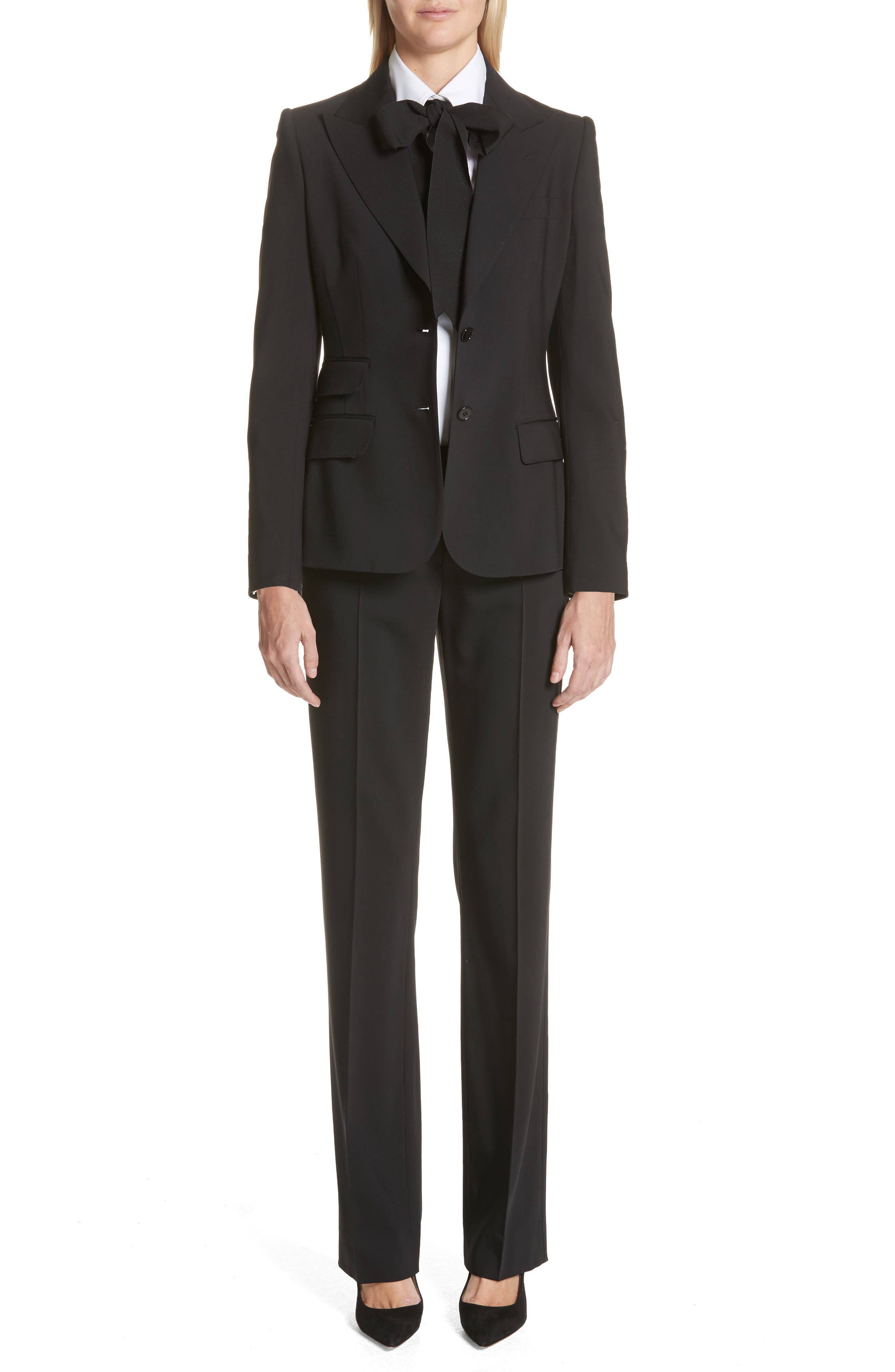 ,                             Straight Leg Stretch Wool Trousers,                             Alternate thumbnail 8, color,                             BLACK