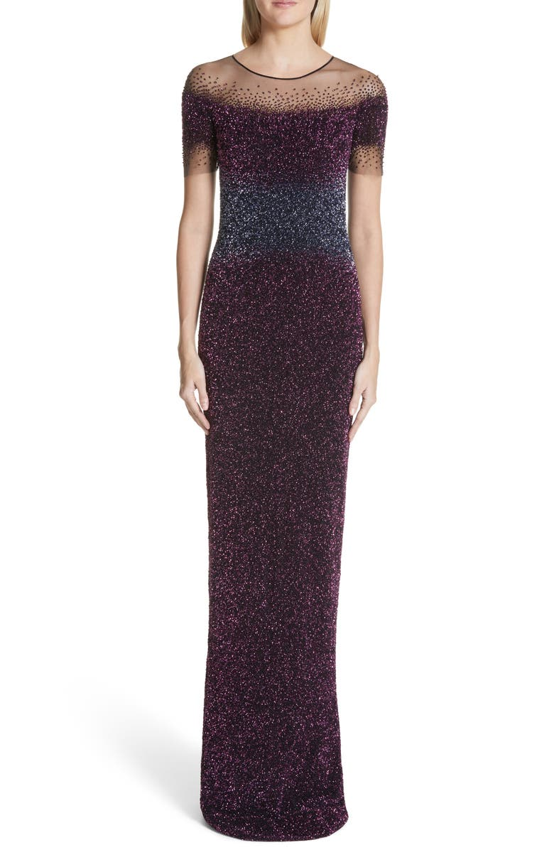 PAMELLA ROLAND Beaded Illusion Gown, Main, color, 500