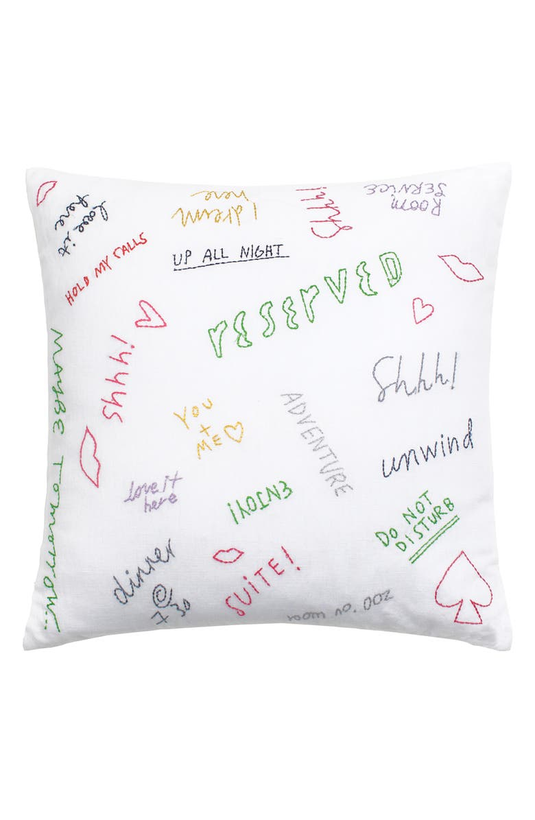 KATE SPADE NEW YORK embroidered graffiti accent pillow, Main, color, MULTI