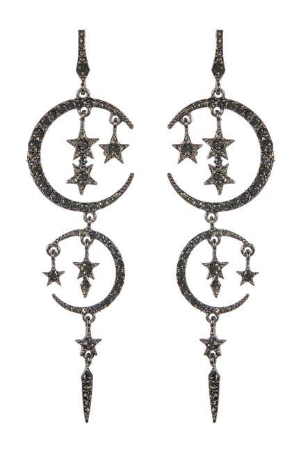 Image of Eye Candy Los Angeles Moon & Stars Crystal Drop Earrings