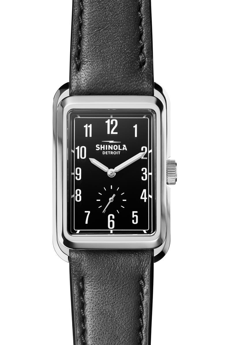 SHINOLA Omaha Rectangular Leather Strap Watch, 26mm x 37mm, Main, color, 001