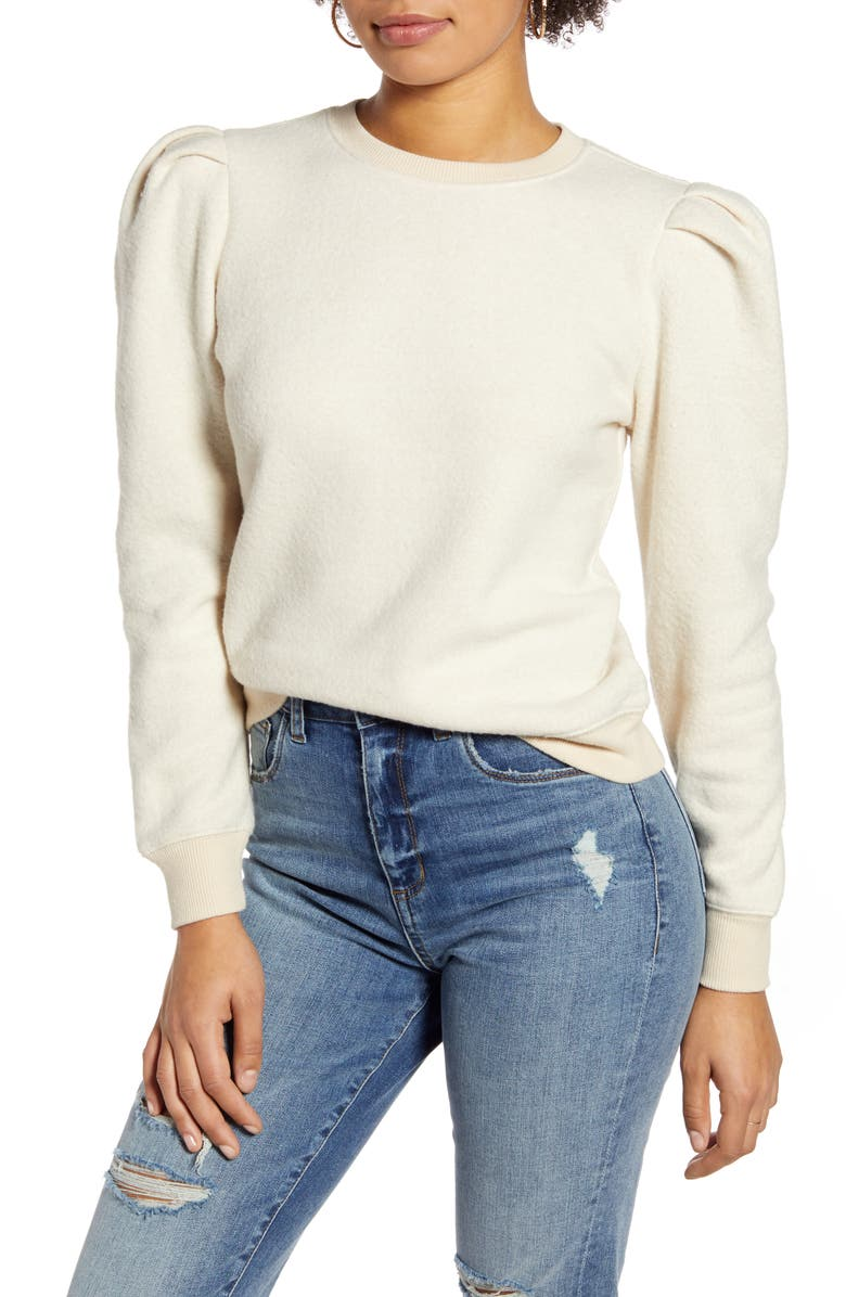 BP. Pleat Sleeve Sweatshirt, Main, color, BEIGE OATMEAL MARL