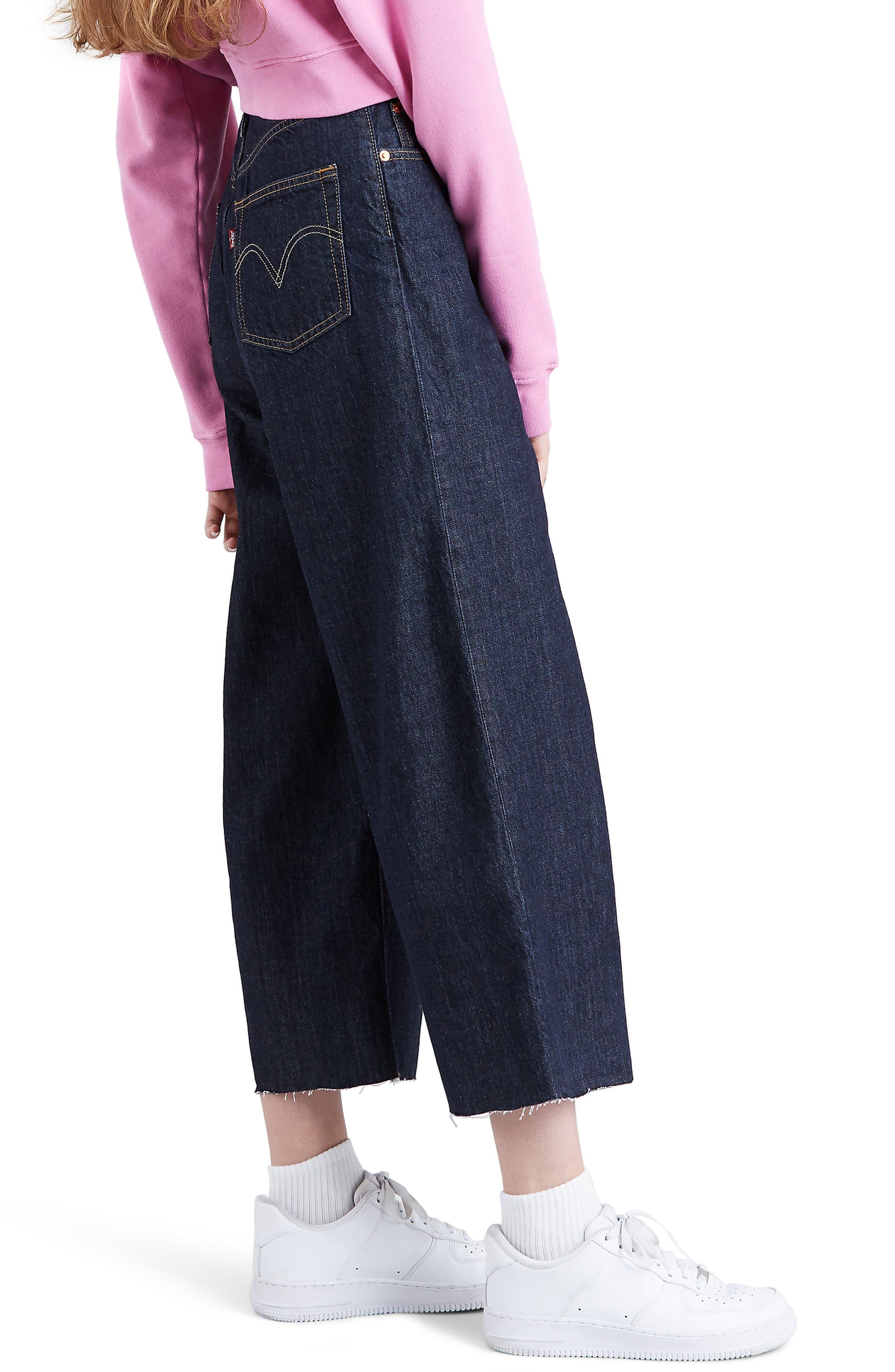 ,                             Ribcage Super High Waist Crop Wide Leg Jeans,                             Alternate thumbnail 4, color,                             420