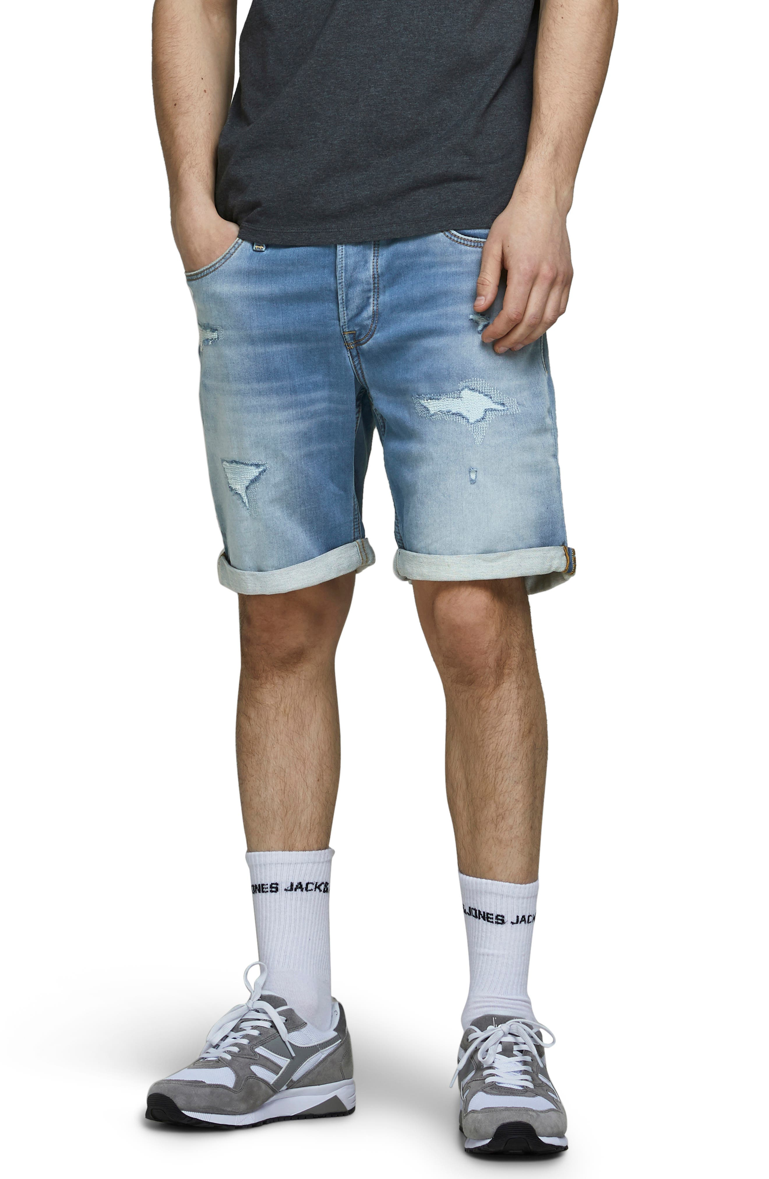 Rick Icon Ge 009 Rip & Repair Knit Denim Shorts