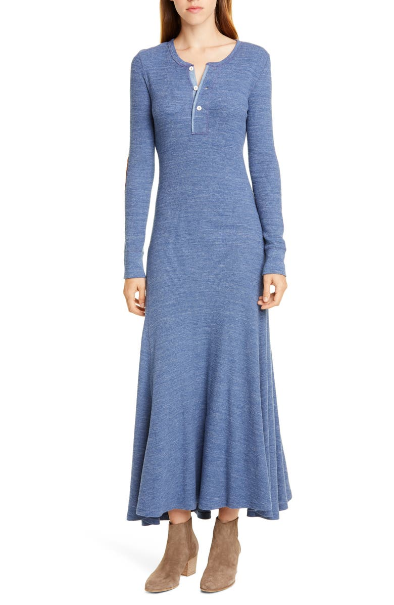 POLO RALPH LAUREN Suede Elbow Patch Long Sleeve Henley Dress, Main, color, 400