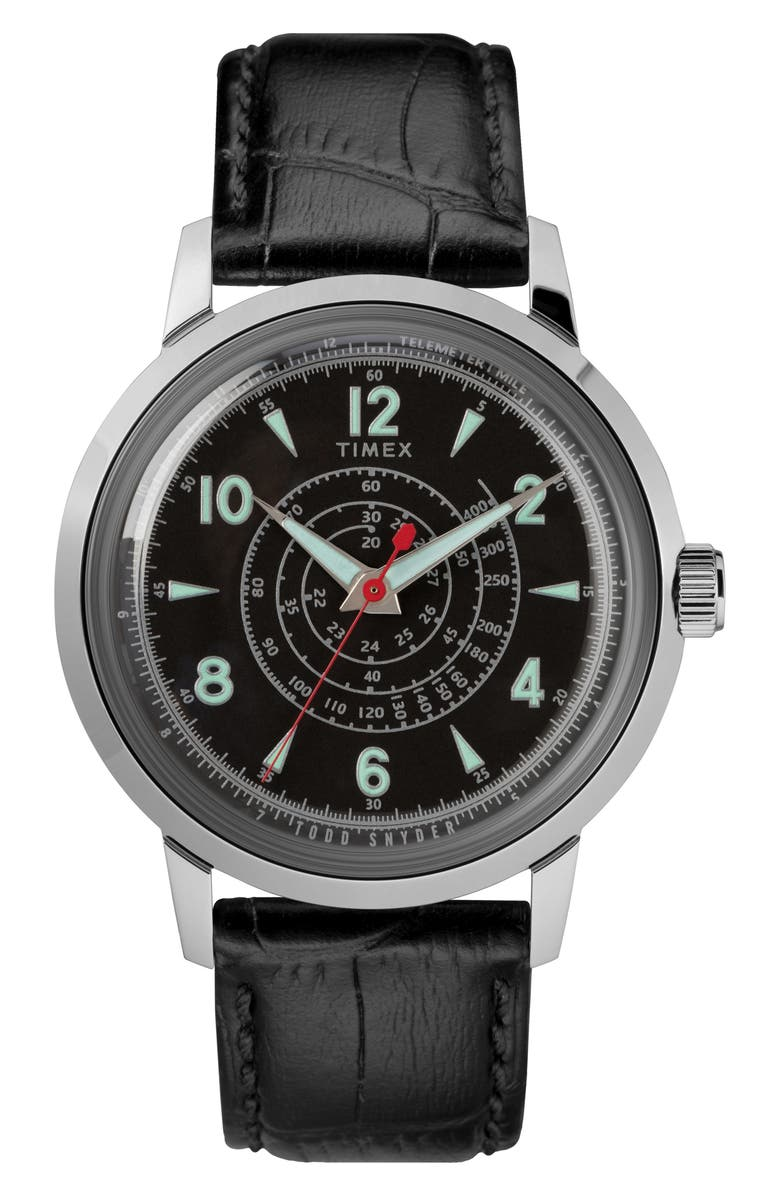 TIMEX<SUP>®</SUP> X TODD SNYDER Beekman Leather Strap Watch, 40mm, Main, color, BLACK / BLACK