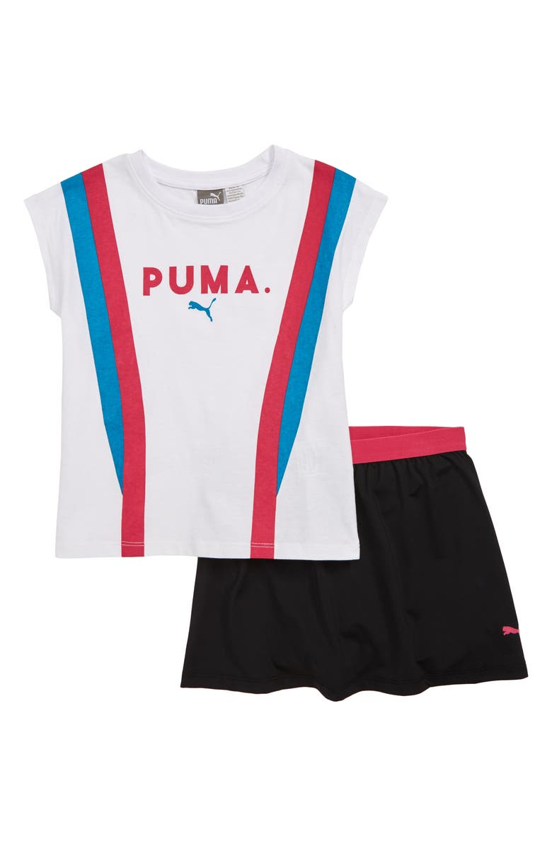 PUMA Logo Graphic Tee & Shorts Set, Main, color, 100