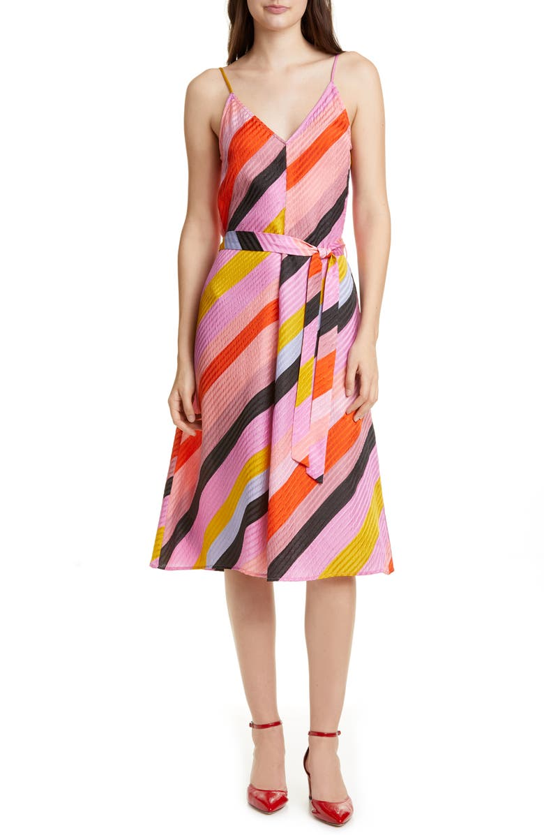 STINE GOYA Gianna A-Line Silk Dress, Main, color, PARALLELS