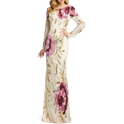 MAC Duggal Drape Back Floral Sequin Gown, Beige