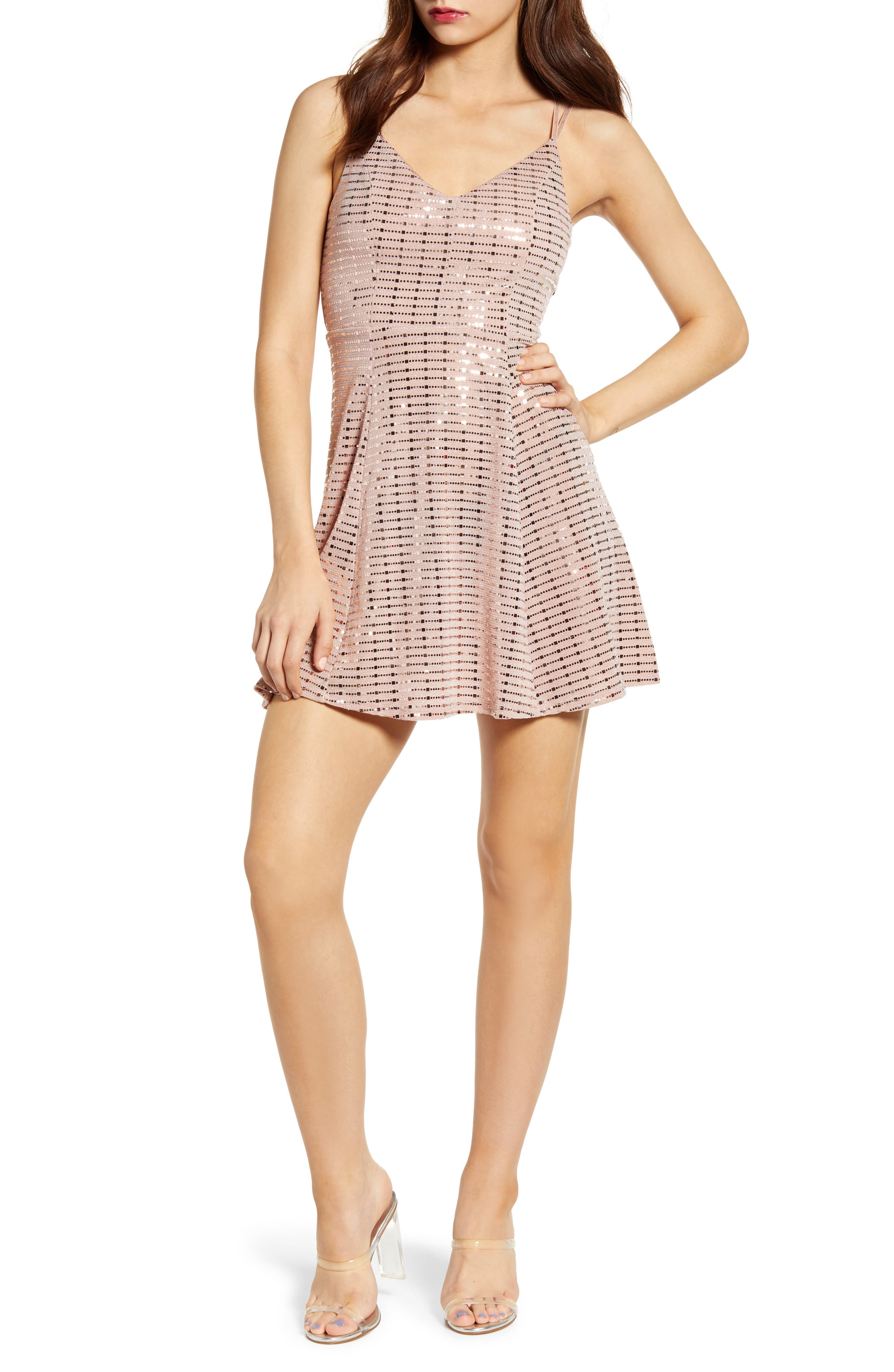 Love, Nickie Lew Grid Sequin Party Dress, Coral