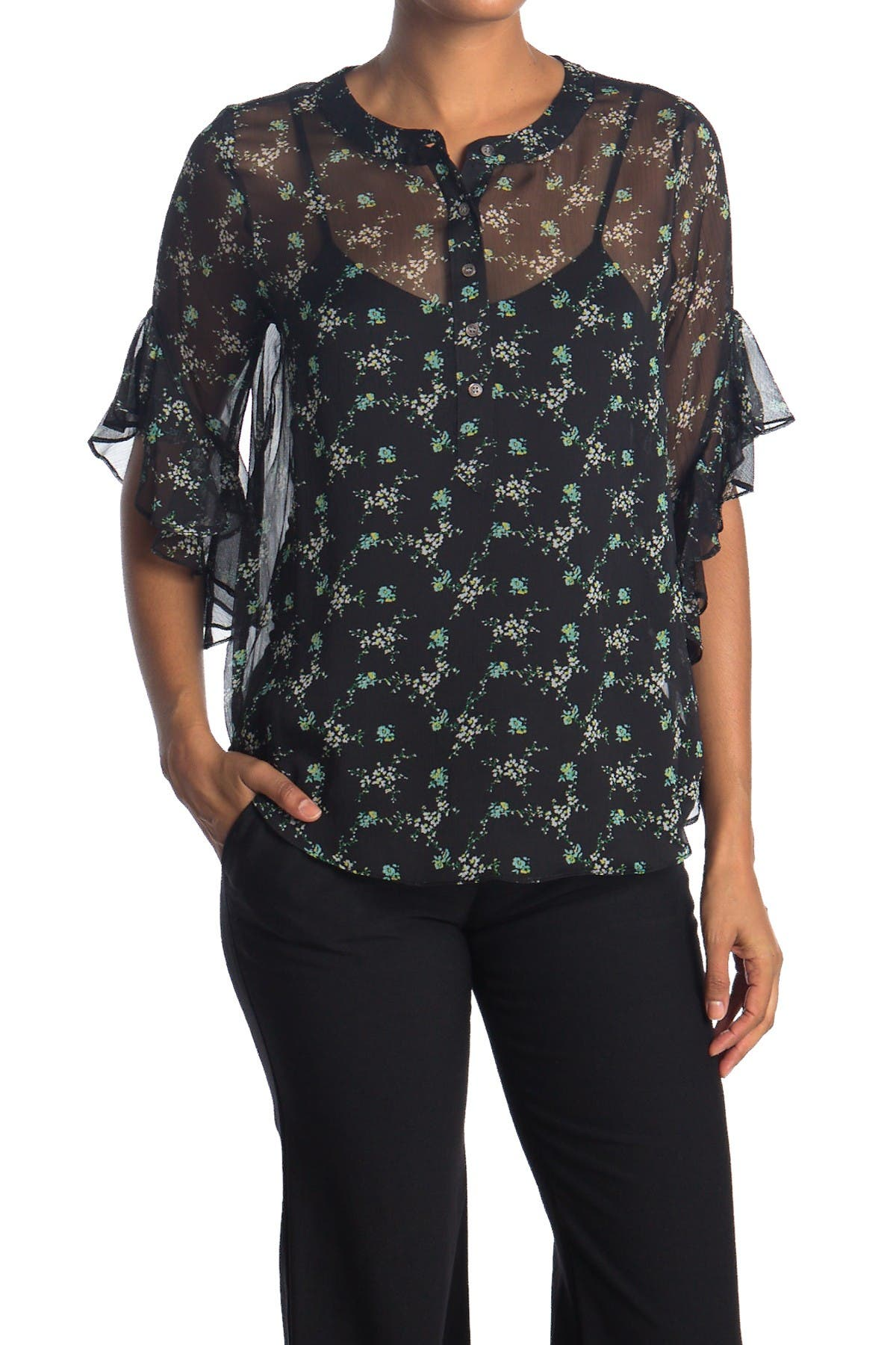 Image of Vince Camuto Bouquet Ruffle Cuff Printed Blouse