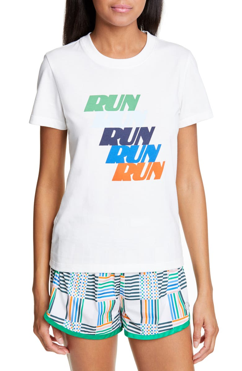 TORY SPORT Run Print Cotton Blend Tee, Main, color, SNOW WHITE