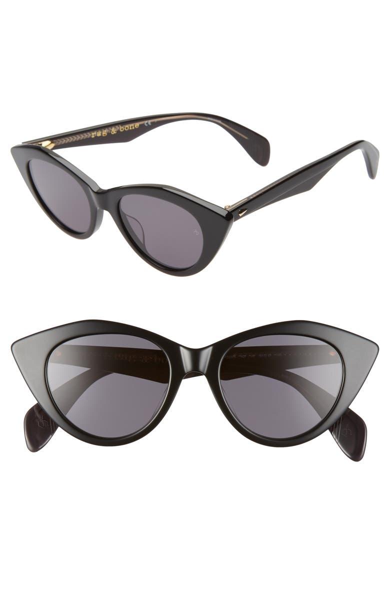 RAG & BONE 49mm Cat Eye Sunglasses, Main, color, BLACK/ GREY BLUE