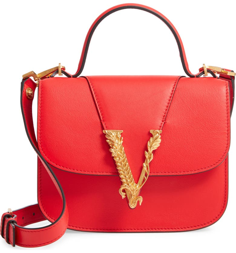 VERSACE FIRST LINE Small V Leather Shoulder Bag, Main, color, EROS FLAME RED/ TRIBUTE GOLD
