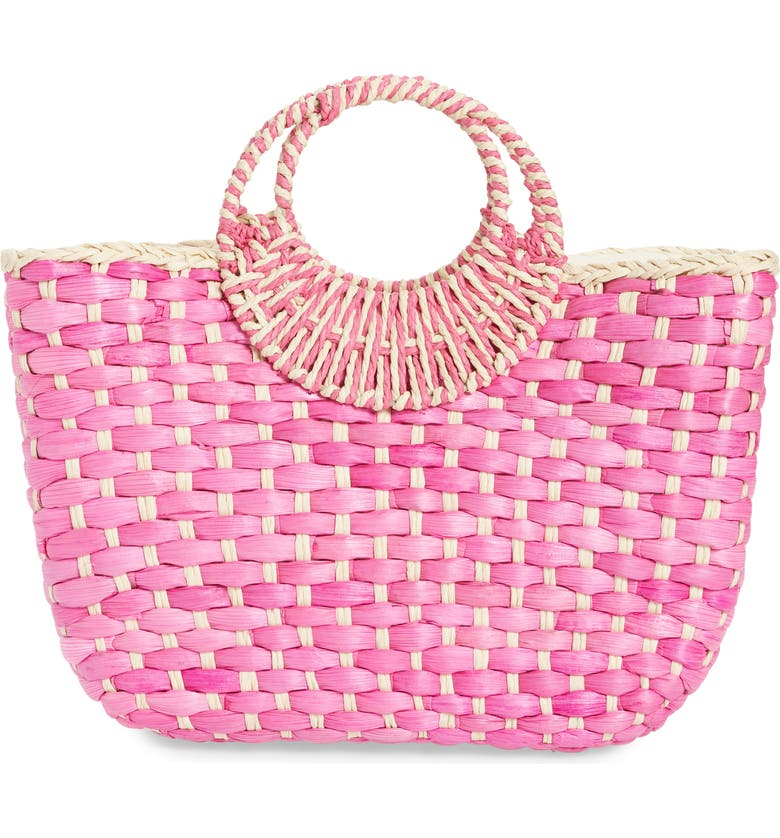 NORDSTROM Norah Woven Tote, Main, color, NATURAL/ PINK