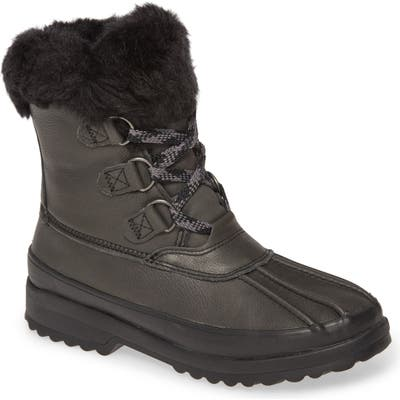 Sperry Maritime Faux Fur Snow Boot- Black