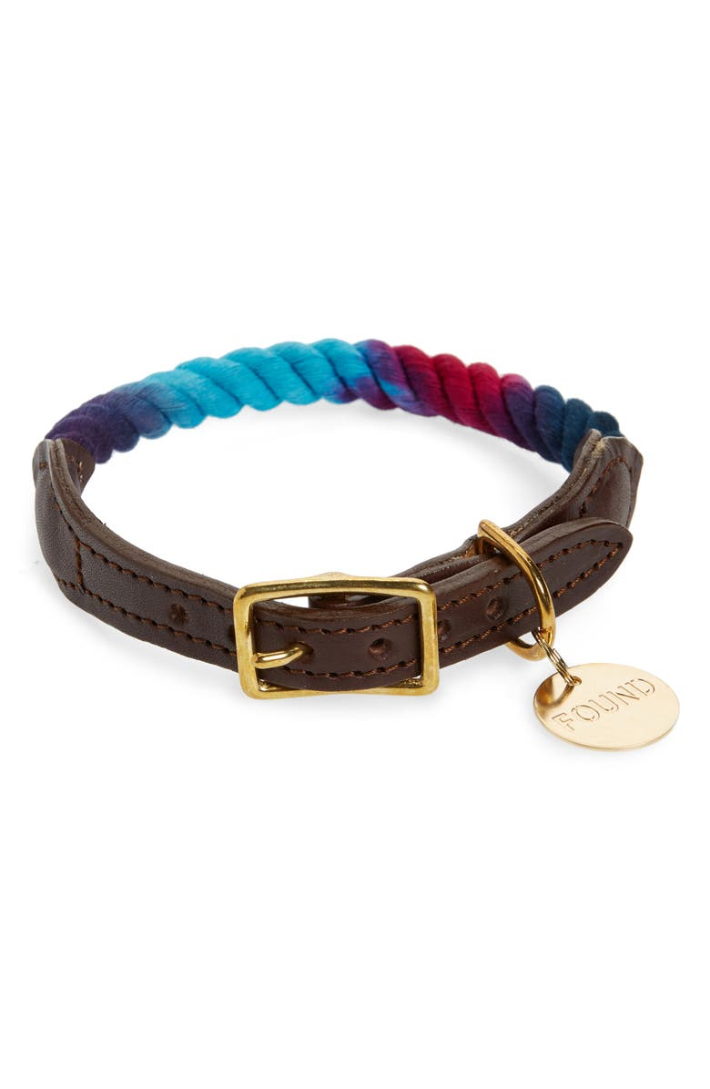 FOUND MY ANIMAL Rope & Leather Pet Collar, Main, color, PINK/ PURPLE/ BLUE