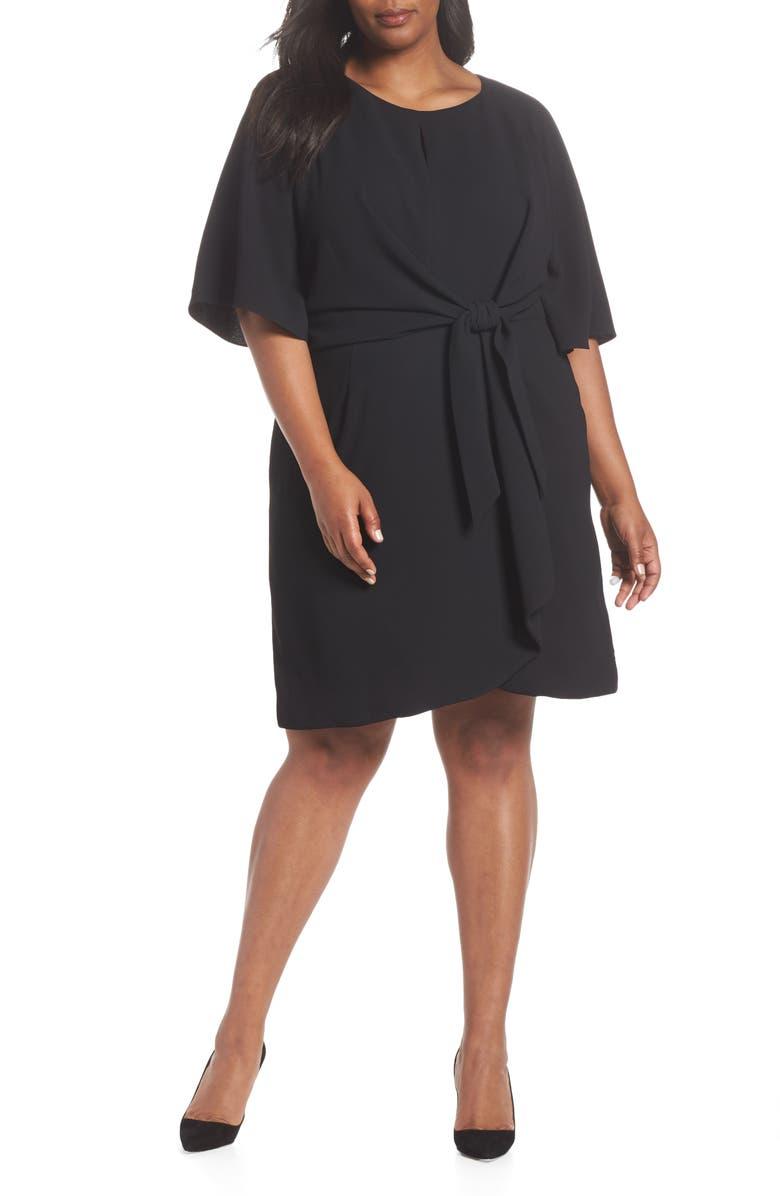 TAHARI Tie Front Crepe Shift Dress, Main, color, BLACK