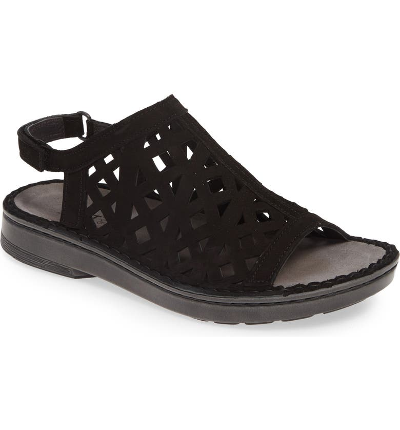 NAOT Amadora Slingback Sandal, Main, color, BLACK VELVET