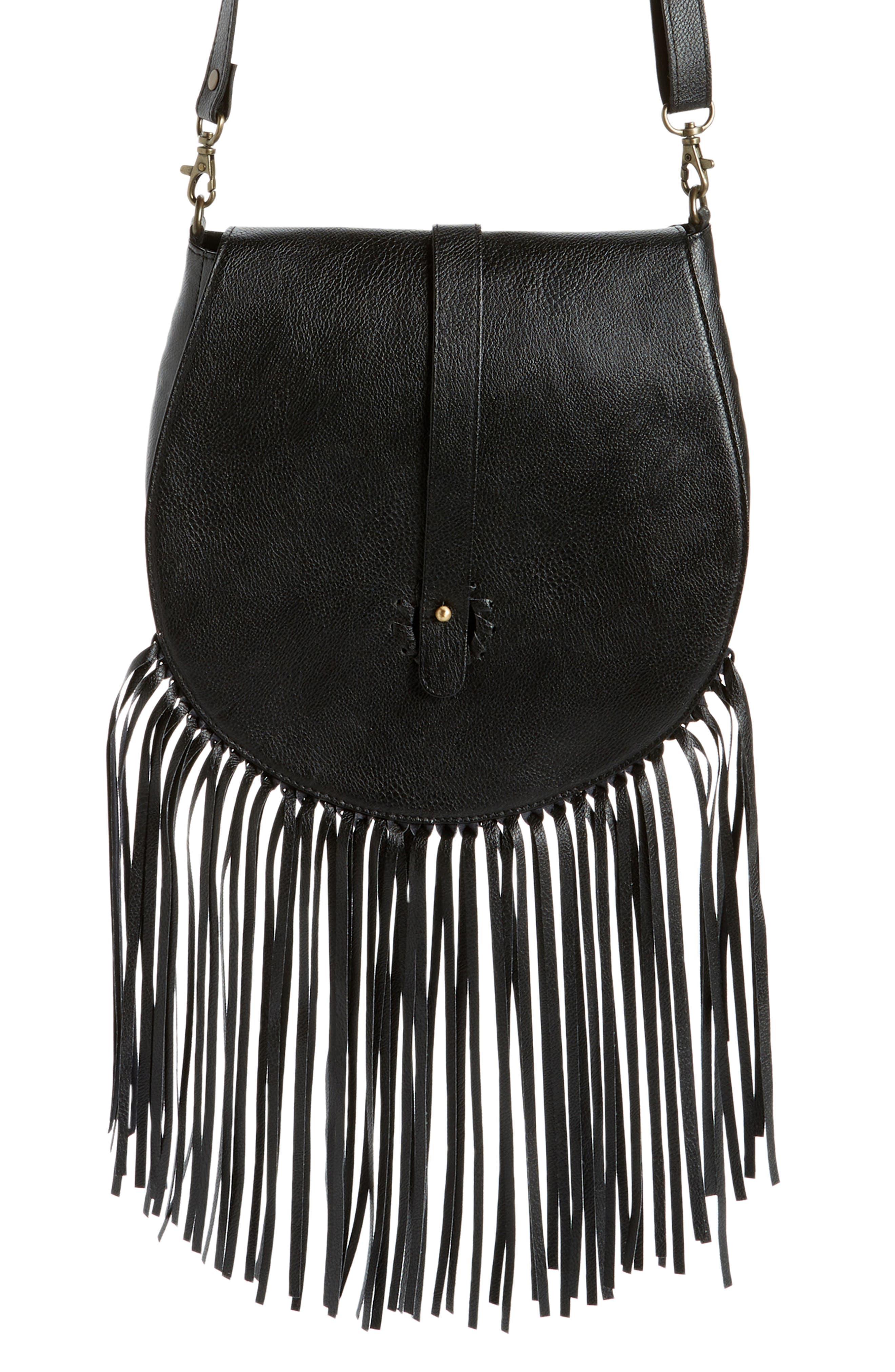 Fringe Faux Leather Saddle Crossbody Bag
