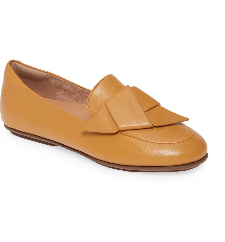 FITFLOP Lena Knot Loafer, Main, color, MUSTARD LEATHER