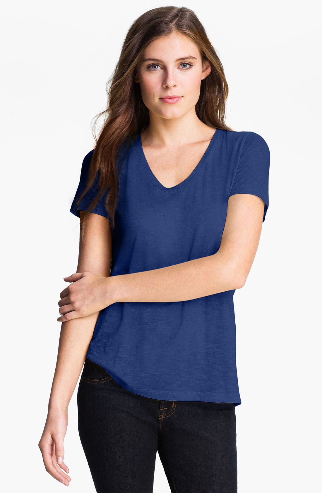 ,                             Relaxed Slub Knit U-Neck Tee,                             Main thumbnail 225, color,                             400