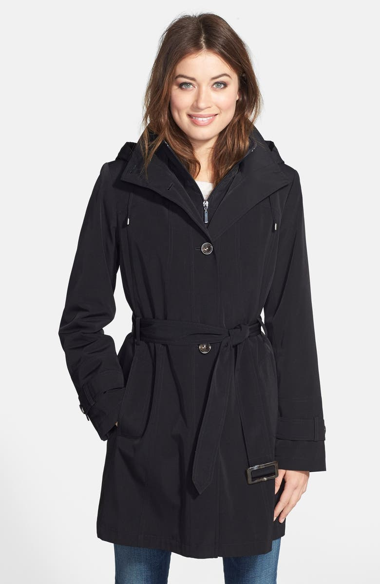 Gallery Two Tone Belted Raincoat With Detachable Hood