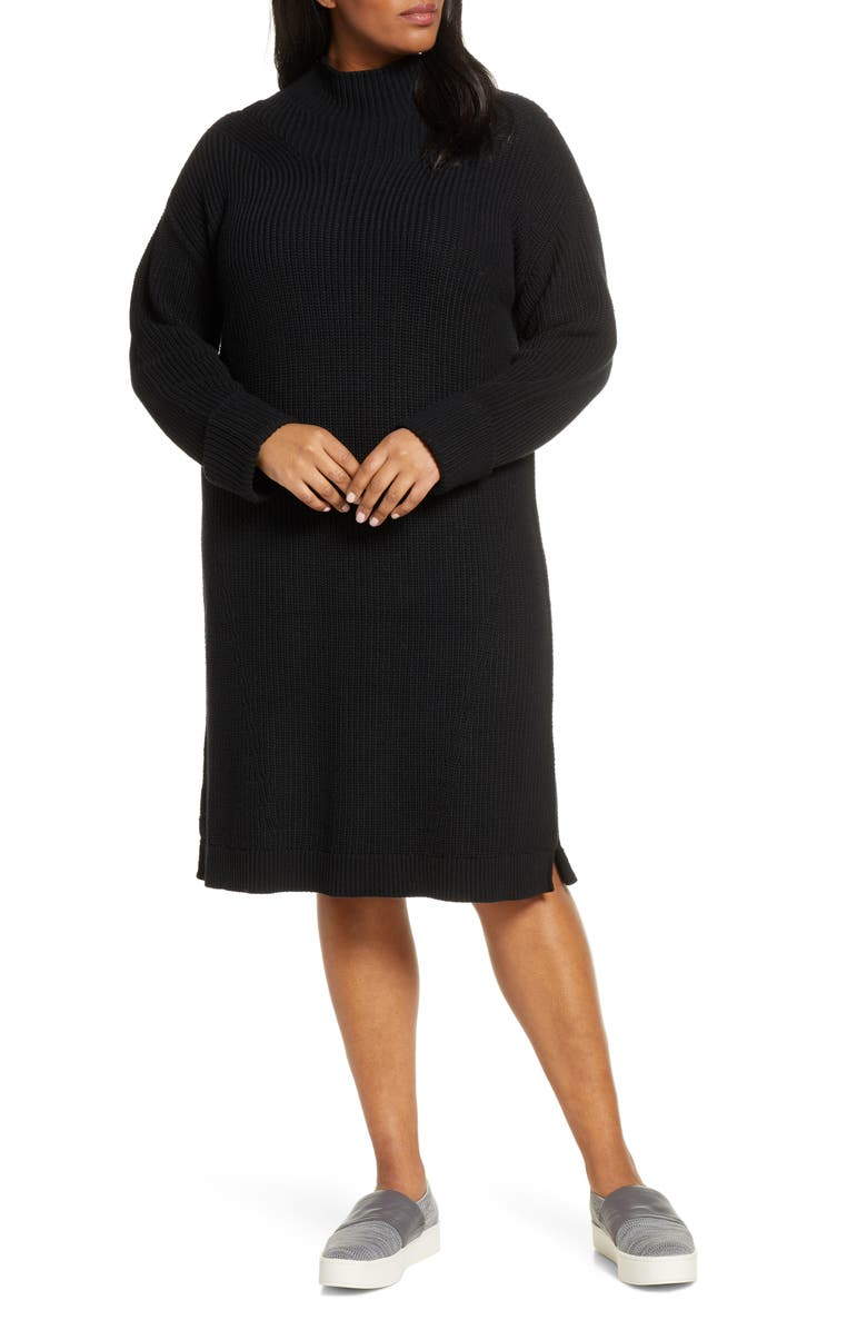 CASLON<SUP>®</SUP> Ribbed Sweater Dress, Main, color, BLACK
