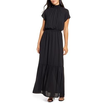 Gibson X City Safari Jaime Shrayber Smocked Maxi Dress, Black