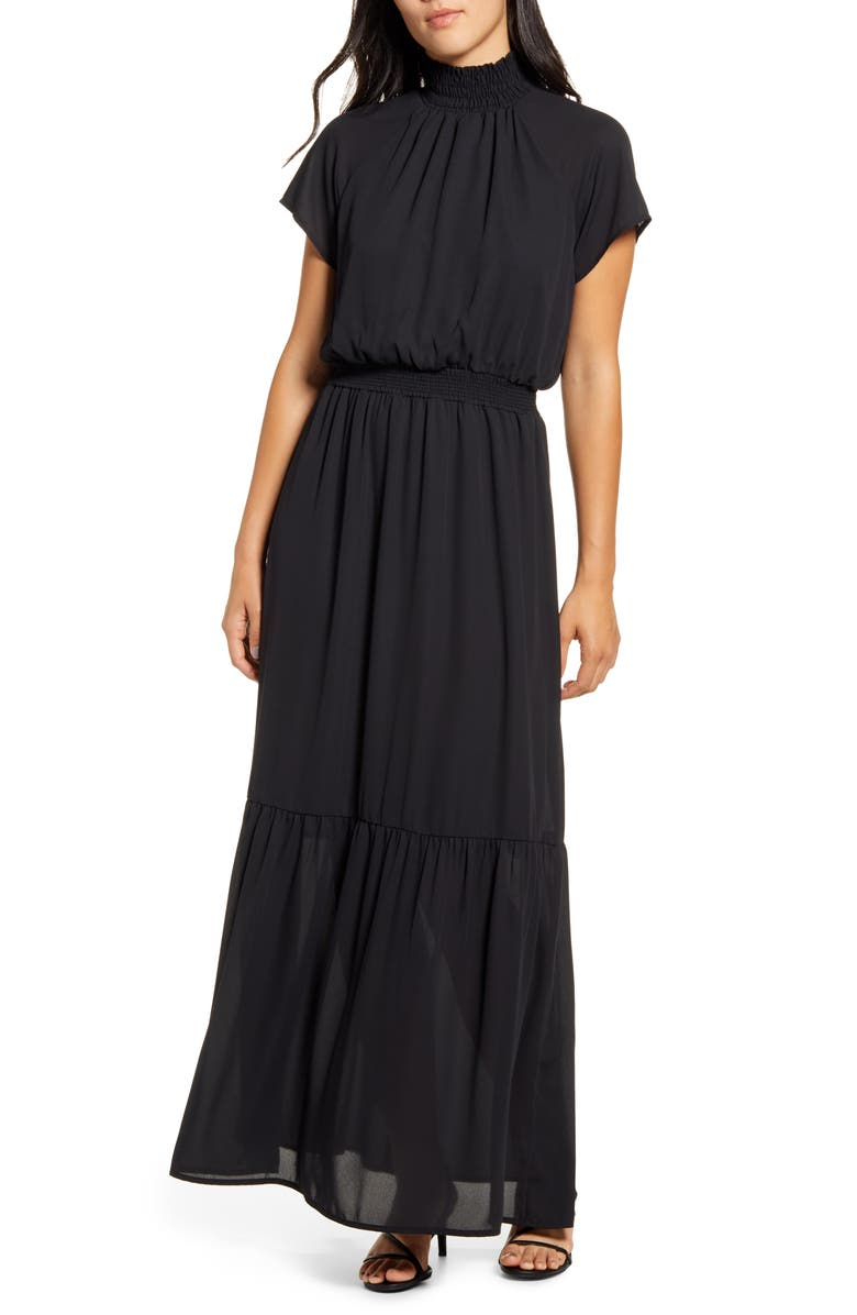 GIBSON x City Safari Jaime Shrayber Smocked Maxi Dress, Main, color, BLACK