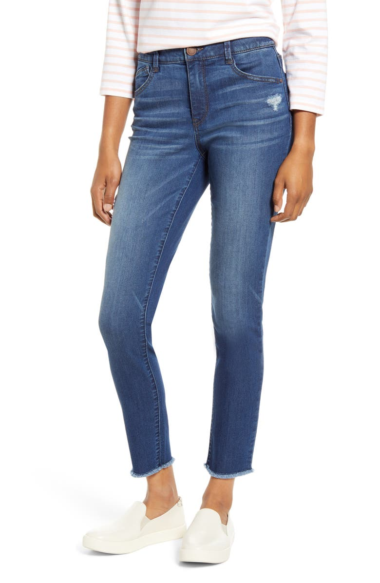 WIT & WISDOM Ab-solution High Waist Fray Hem Ankle Skinny Jeans, Main, color, 420