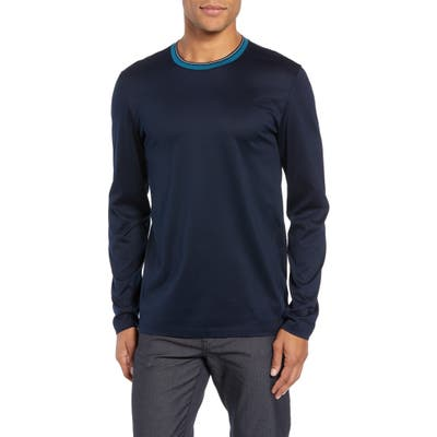 Boss Tenison Mercerized Long Sleeve Slim Fit T-Shirt, Blue