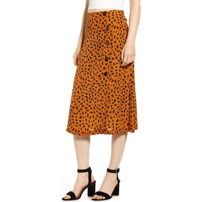 All In Favor Animal Print Button Midi Skirt, Brown