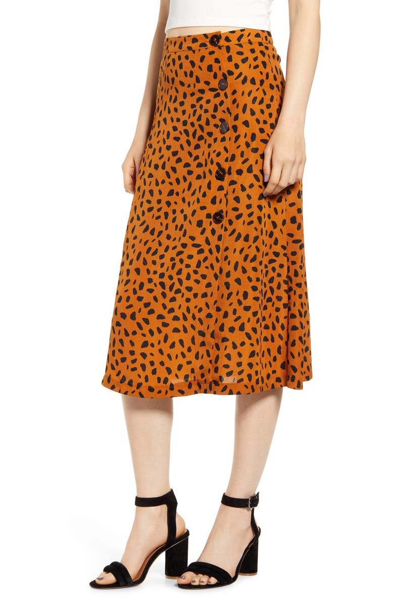 ALL IN FAVOR Animal Print Button Midi Skirt, Main, color, RUST GROUND DOT