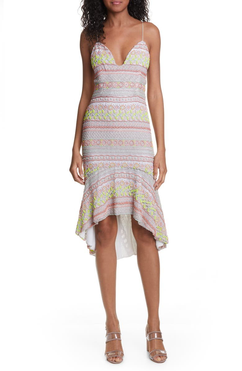 ALICE + OLIVIA Amina All Over Embroidery Sweetheart Neck Cotton Dress, Main, color, OFF WHITE/ MULTI