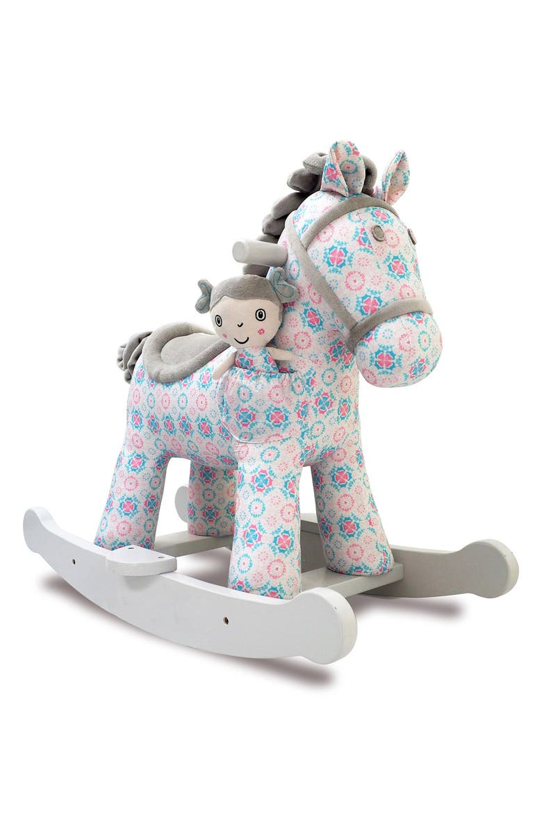 LITTLE BIRD TOLD ME Rosie & Mae Rocking Horse & Stuffed Animal, Main, color, PINK