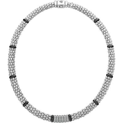 Lagos Black Caviar Diamond Station Collar Necklace