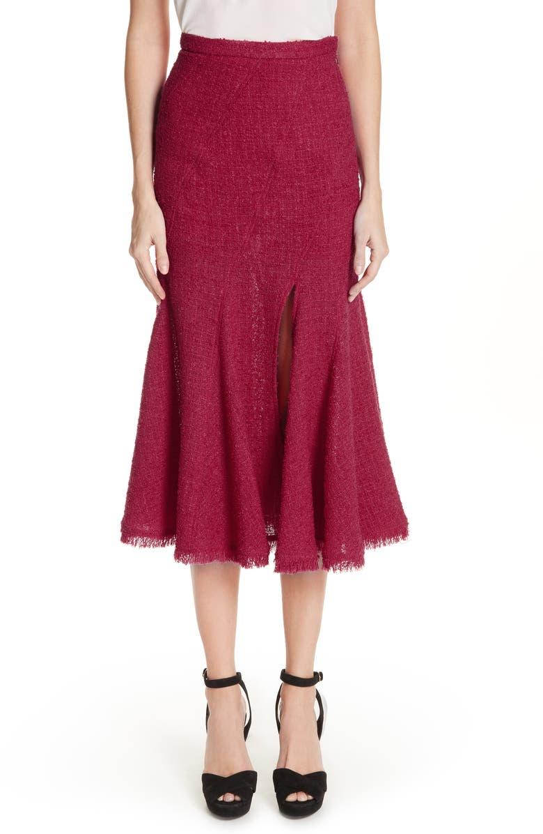 OSCAR DE LA RENTA Flare Hem Tweed Skirt, Main, color, 607