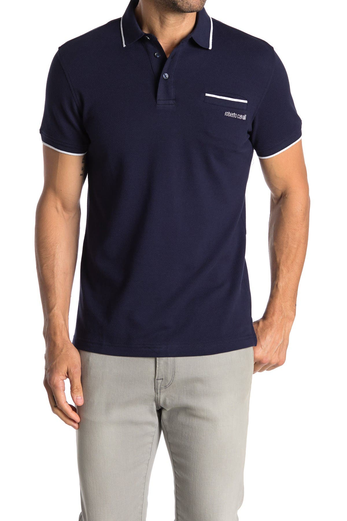Image of Roberto Cavalli Pipe Trim Patch Pocket Short Sleeve Polo