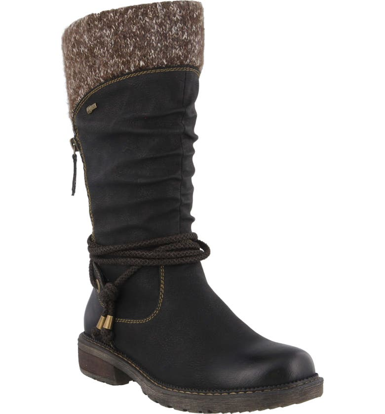 SPRING STEP Acaphine Water Resistant Boot, Main, color, BLACK FAUX LEATHER