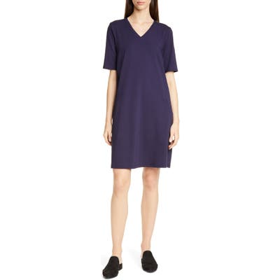 Eileen Fisher Stretch Cotton A-Line Dress, Blue