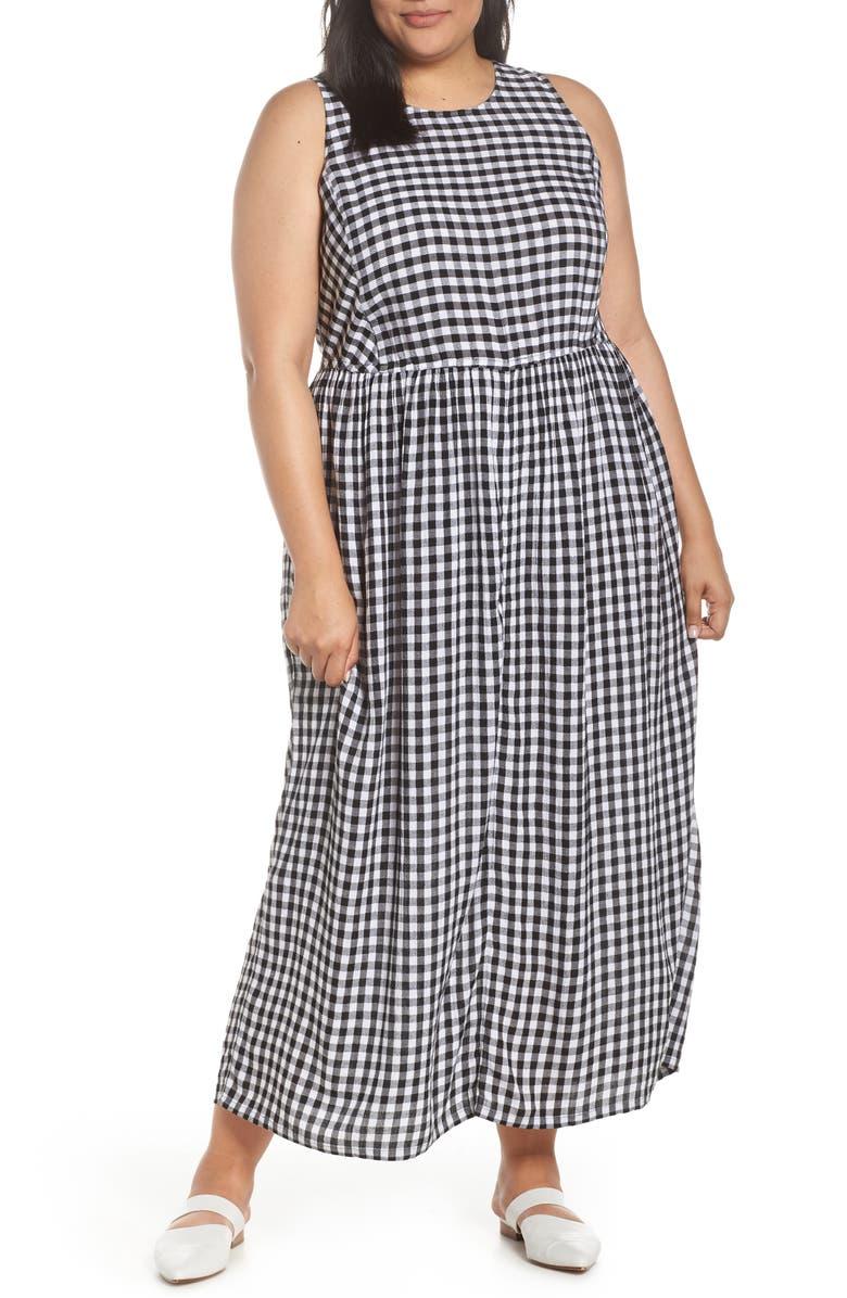CASLON<SUP>®</SUP> Smocked Cotton Maxi Dress, Main, color, BLACK- WHITE GINGHAM