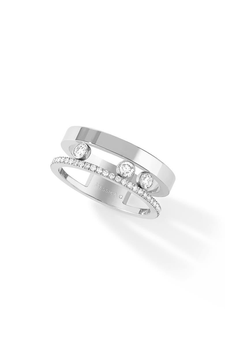 MESSIKA Two Row Move Romane Diamond Ring, Main, color, WHITE GOLD