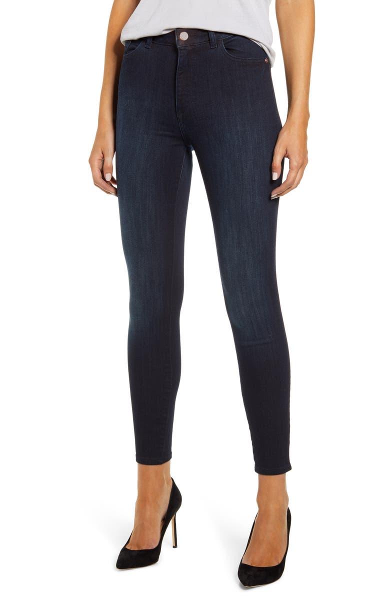 DL1961 x Marianna Hewitt Instasculpt Farrow High Waist Ankle Skinny Jeans, Main, color, FRESNO