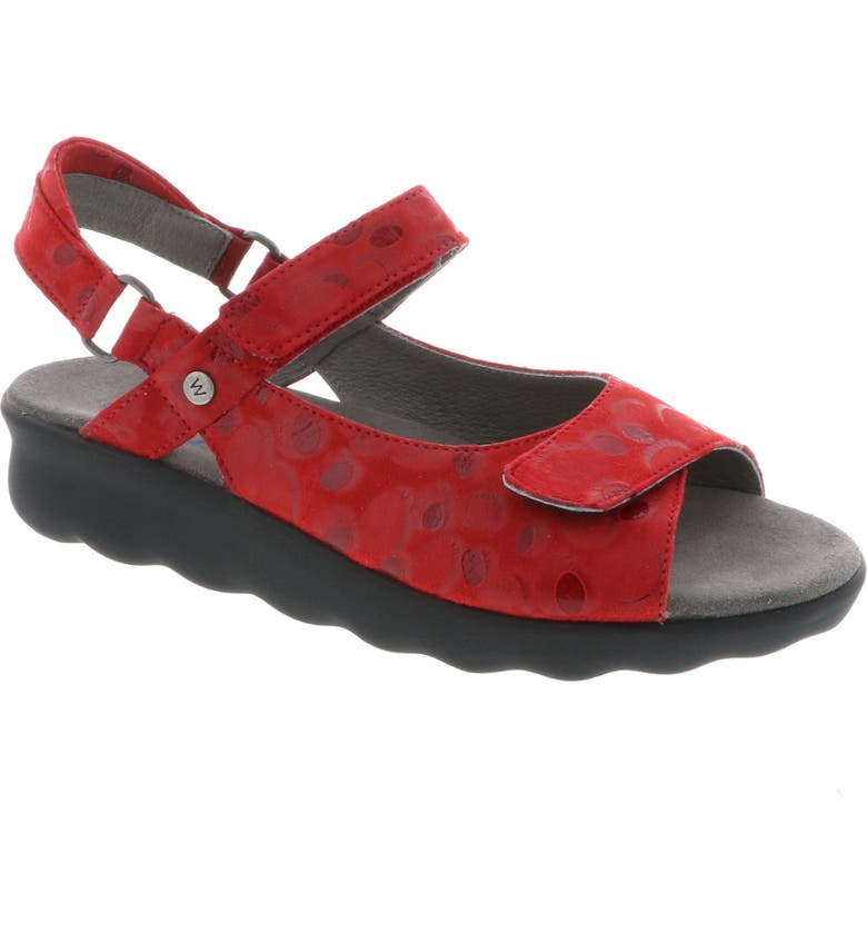WOLKY Pichu Quarter Strap Sandal, Main, color, RED CIRCLE PRINT