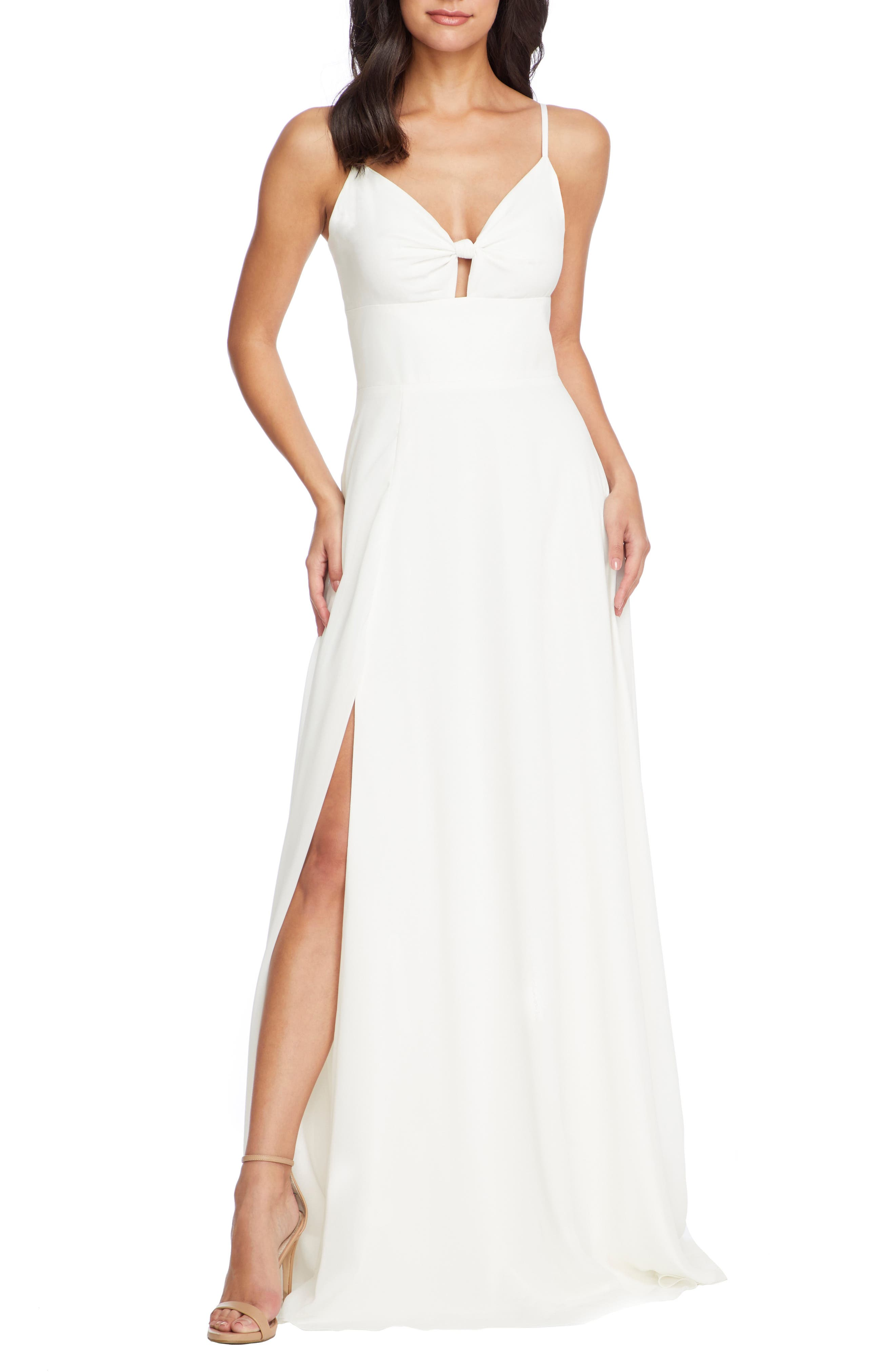 Dress The Population Cambria Tie Bodice Evening Dress, Ivory