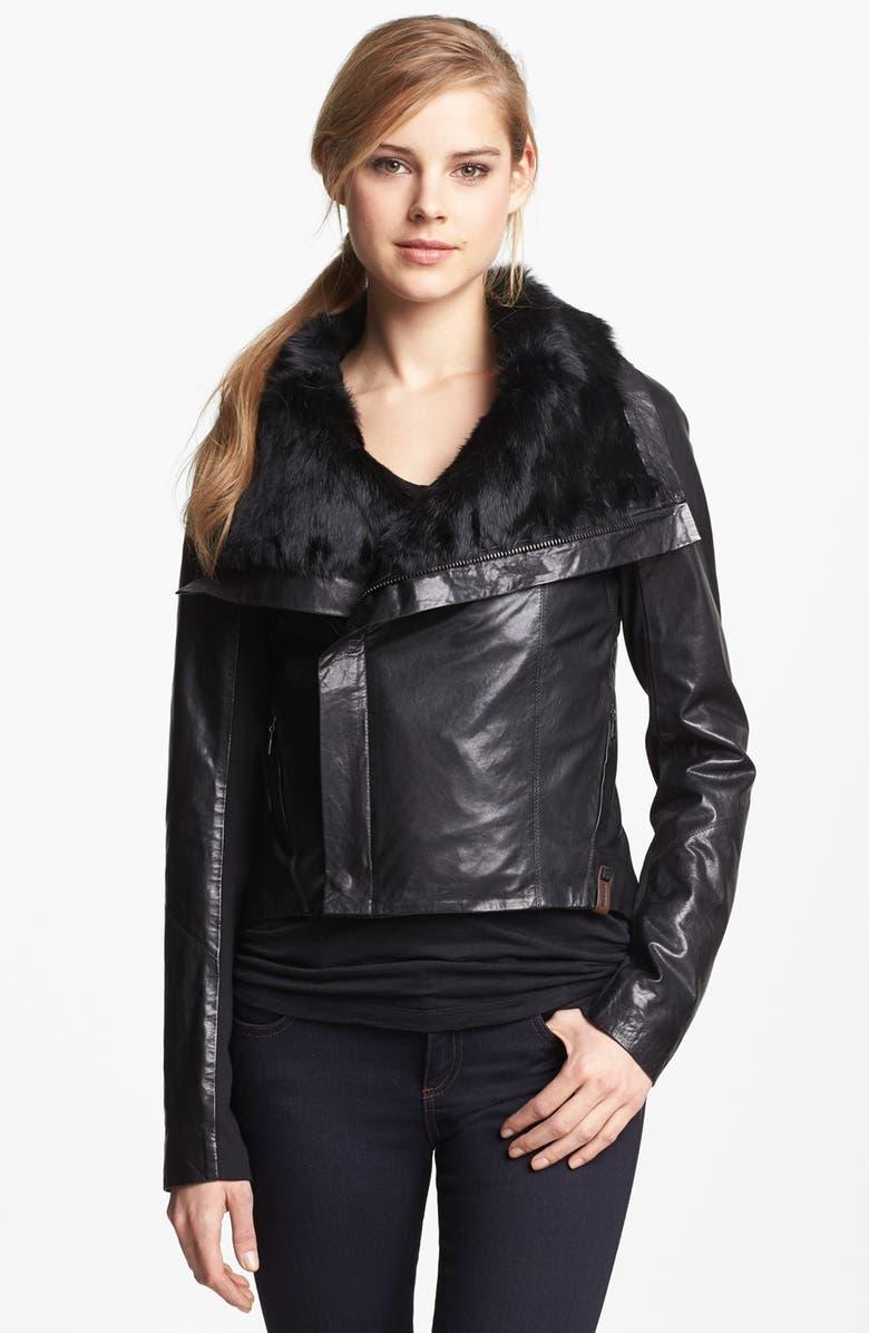 RUDSAK Genuine Rabbit Fur Trim Leather Jacket, Main, color, 001